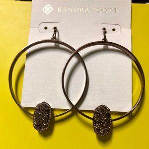 Kendra Scott Brass Elora Earrings Chocolate Drusy